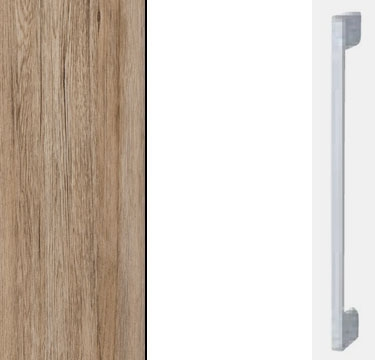 Sanremo Oak Light Carcase with High Polish White Front and Aluminium Color Handle A020M