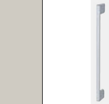 Silk Grey Carcase with High Polish White Front and Aluminium Color Handle A032M