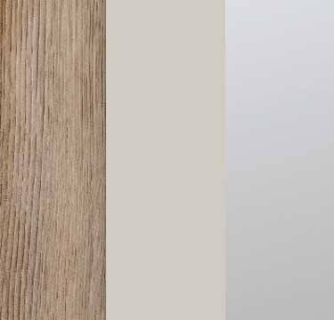Sanremo Oak Light Carcase with Glass Silk Grey and Mirror Application Front AS10A