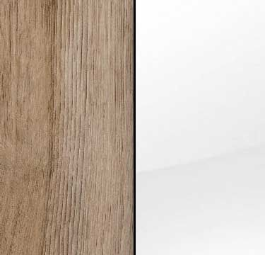 Sanremo Oak Light Carcase with High Polish White Front and Chrome Color Handle A4M98