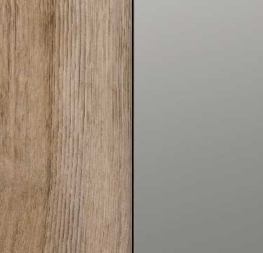 Sanremo Oak Light Carcase and Front with Grey Mirror Application A048C
