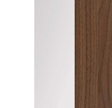 Alpine White Carcase with Crystal White Glass Front and Royal Walnut Application Color A100B