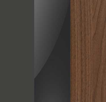 Graphite Carcase with Basalt Glass Front and Royal Walnut Application Color A106B
