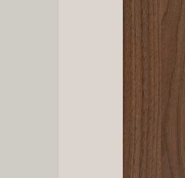 Silk Grey Carcase with Silk Grey Glass Front and Royal Walnut Application Color A103B