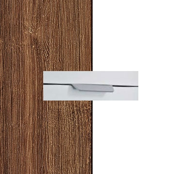 Stirling Oak Carcase with Alpine White Front and Aluminium Color Handle No2 A674L