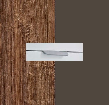 Stirling Oak Carcase with Lava Grey Front and Aluminium Color Handle No2 AA02L