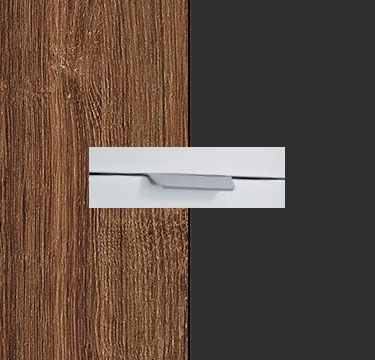 Stirling Oak Carcase with Metallic Grey Front and Aluminium Color Handle No2 A673L