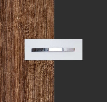 Stirling Oak Carcase with Metallic Grey Front and Chrome Color Handle No1 A673D