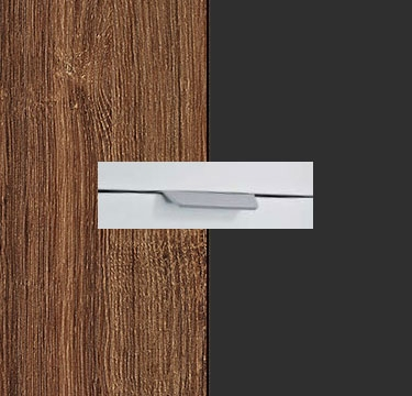 Stirling Oak Carcase with Metallic Grey Front and Chrome Color Handle No2 A673R
