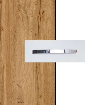 Wotan Oak Carcase with Alpine White Front and Aluminium Color Handle No1 AA15B