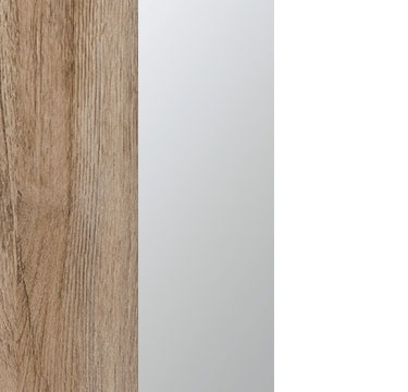Sanremo Oak Light Carcase with Center Door Mirror and Alpine White Application Color A4338