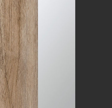 Sanremo Oak Light Carcase with Center Door Mirror and Metallic Grey Application Color A4AC8