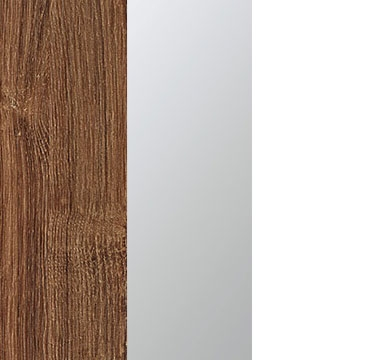 Stirling Oak Carcase with Center Door Mirror and Alpine White Application Color A5AD8