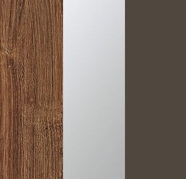 Stirling Oak Carcase with Center Door Mirror and Lava Grey Application Color AJ507