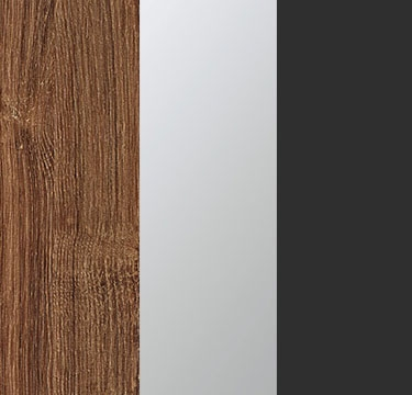 Stirling Oak Carcase with Center Door Mirror and Metallic Grey Application Color AJ528