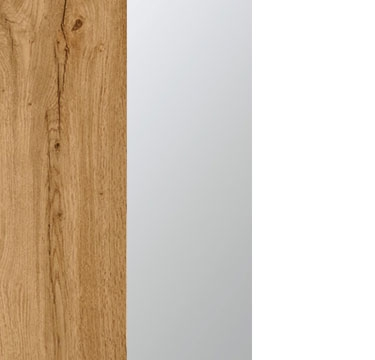 Wotan Oak Carcase with Center Door Mirror and Alpine White Application Color A2N31