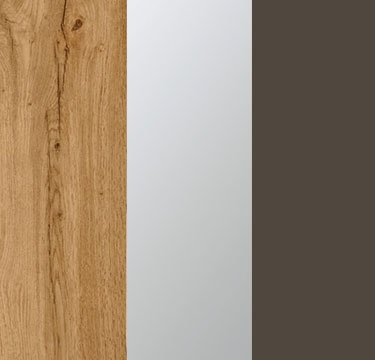 Wotan Oak Carcase with Center Door Mirror and Lava Grey Application Color A2N29