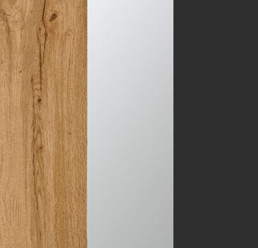 Wotan Oak Carcase with Center Door Mirror and Metallic Grey Application Color A2AC8