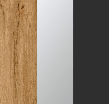 Wotan Oak Carcase with Center Door Mirror and Metallic Grey Application Color A2N10
