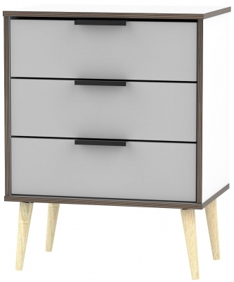 Grey Matt Front with White Base Unit with Natural Wooden Legs