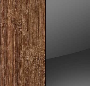 Stirling Oak Carcase with Glass Basalt Front and Chrome Color Short Handle A662K