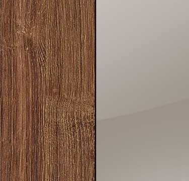 Stirling Oak Carcase with Glass Fango Front and Chrome Color Long Handle A661L