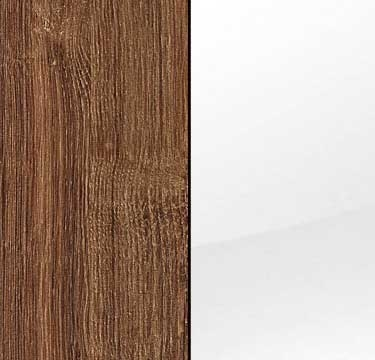 Stirling Oak Carcase with Glass White Front and Chrome Color Long Handle A660L