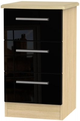 Black High Gloss Front and Light Oak Base Unit