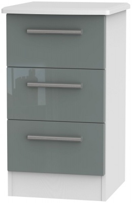 Grey High Gloss Front and White Base Unit