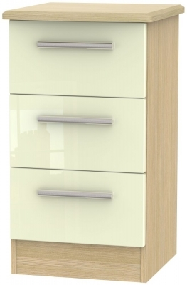 Cream High Gloss Front and Light Oak Base Unit
