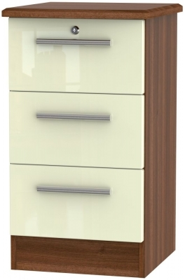 Cream High Gloss Front and Noche Walnut Base Unit