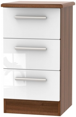 White High Gloss Front and Noche Walnut Base Unit