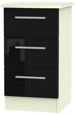 Black High Gloss Front and Cream Matt Base Unit