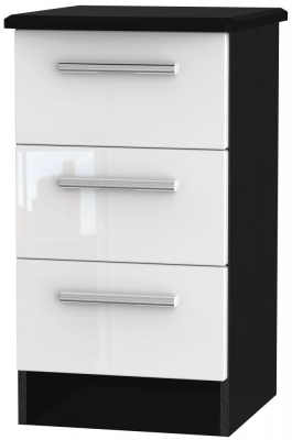 White High Gloss Front and Black Base Unit