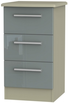 Grey High Gloss Front and Mushroom Matt Base Unit