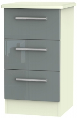 Grey High Gloss Front and Cream Matt Base Unit