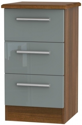Grey High Gloss Front and Noche Walnut Base Unit