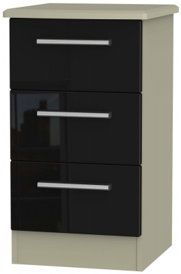 Black High Gloss Front and Mushroom Matt Base Unit