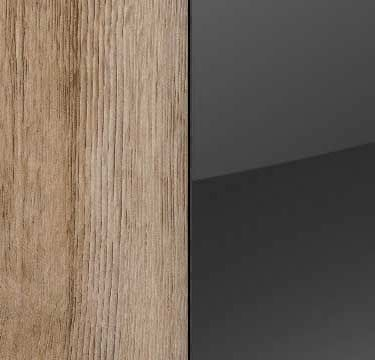 Sanremo Oak Light Carcase and Glass Basalt Front with Aluminium Color Handle Strips A4M74