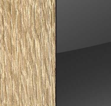 Sonoma Oak Carcase and Glass Basalt Front with Aluminium Color Handle Strips AL674