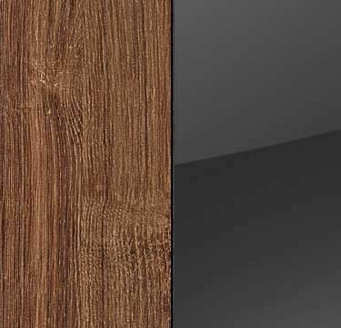 Stirling Oak Carcase and Glass Basalt Front with Aluminium Color Handle Strips A5P74