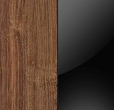 Stirling Oak Carcase and Glass Black Front with Aluminium Color Handle Strips A5P84