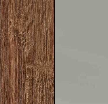 Stirling Oak Carcase and Glass Silk Grey Front with Aluminium Color Handle Strips AD331