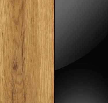 Wotan Oak Carcase and Glass Black Front with Aluminium Color Handle Strips AC013