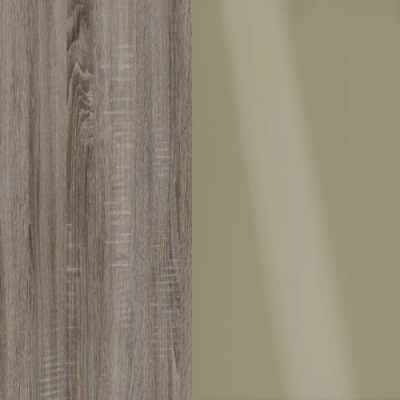 Dark Rustic Oak Frame with Faux Leather Pebble Grey Headboard Cushion 314