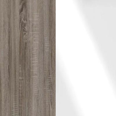 Dark Rustic Oak Frame with Faux Leather White Headboard Cushion 314