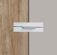 Rauch Aditio Sanremo Oak Light Carcase with High Polish Soft Grey Front and Aluminium Color Handle No2 AA40L