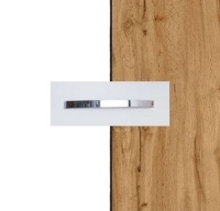 Rauch Quadra Alpine White Carcase with Wotan Oak Front and Aluminium Color Handle No1 AA09B