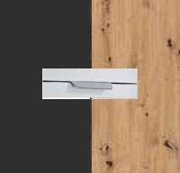 Rauch Quadra Metallic Grey Carcase with Aritsan Oak Front and Chrome Color Handle No2 AD67R