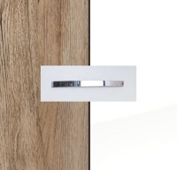 Rauch Quadra Sanremo Oak Light Carcase with High Polish White Front and Aluminium Color Handle No1 AA34B
